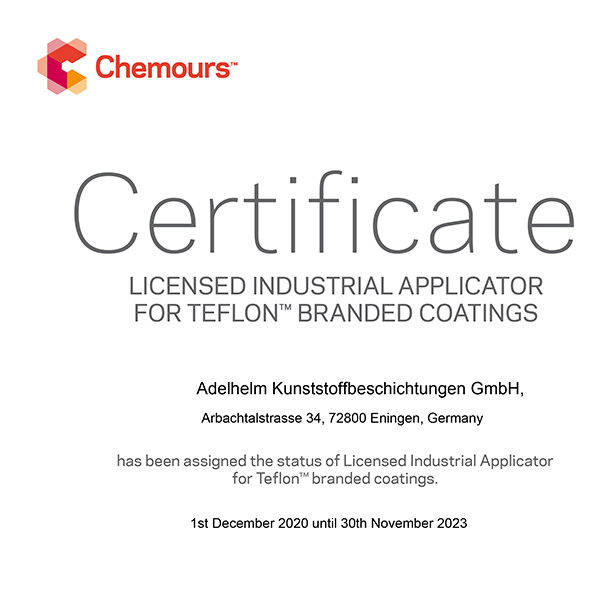Chemours Telflon coating (PTFE) license for Adelhelm plastic coatings as licensed Teflon coater (PTFE)